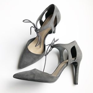 Nine West Gray Suede Pointed Toe Heels SZ 7 M